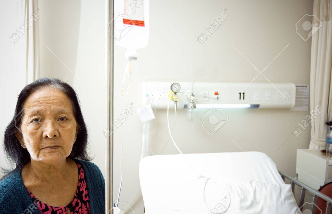 lonely asian old woman get infusion during inpatient treatment at the hospital Stock Photo - 6400640