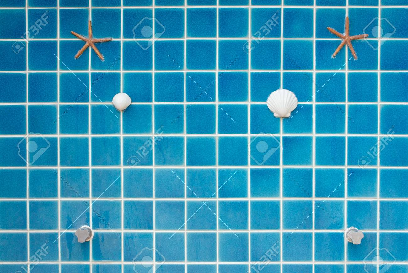 Blue Mosaic Tile Wall At Outdoor Shower Stock Photo, Picture And ...