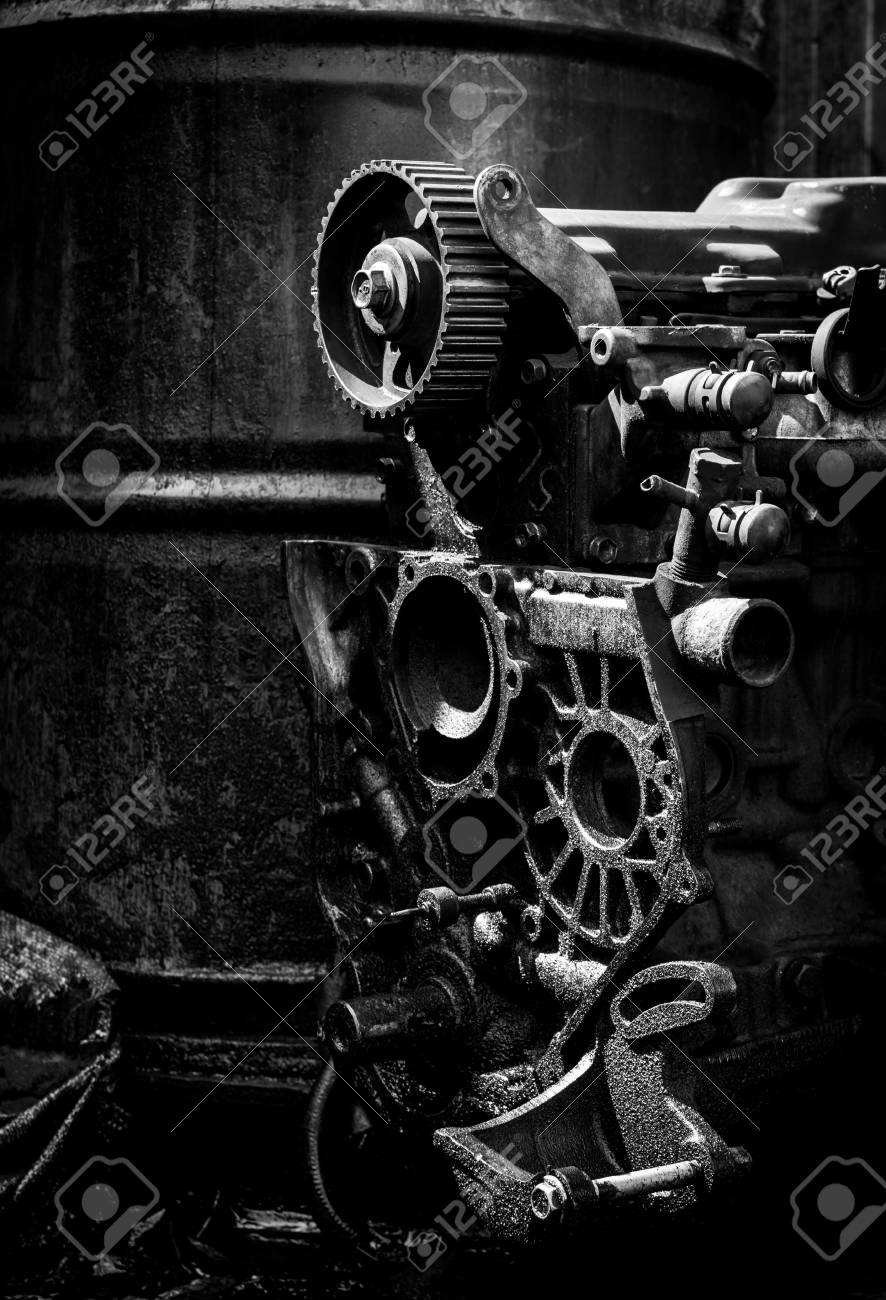 Old Car Engine Black And White Photo Stock Photo Picture And Royalty Free Image Image 31357335