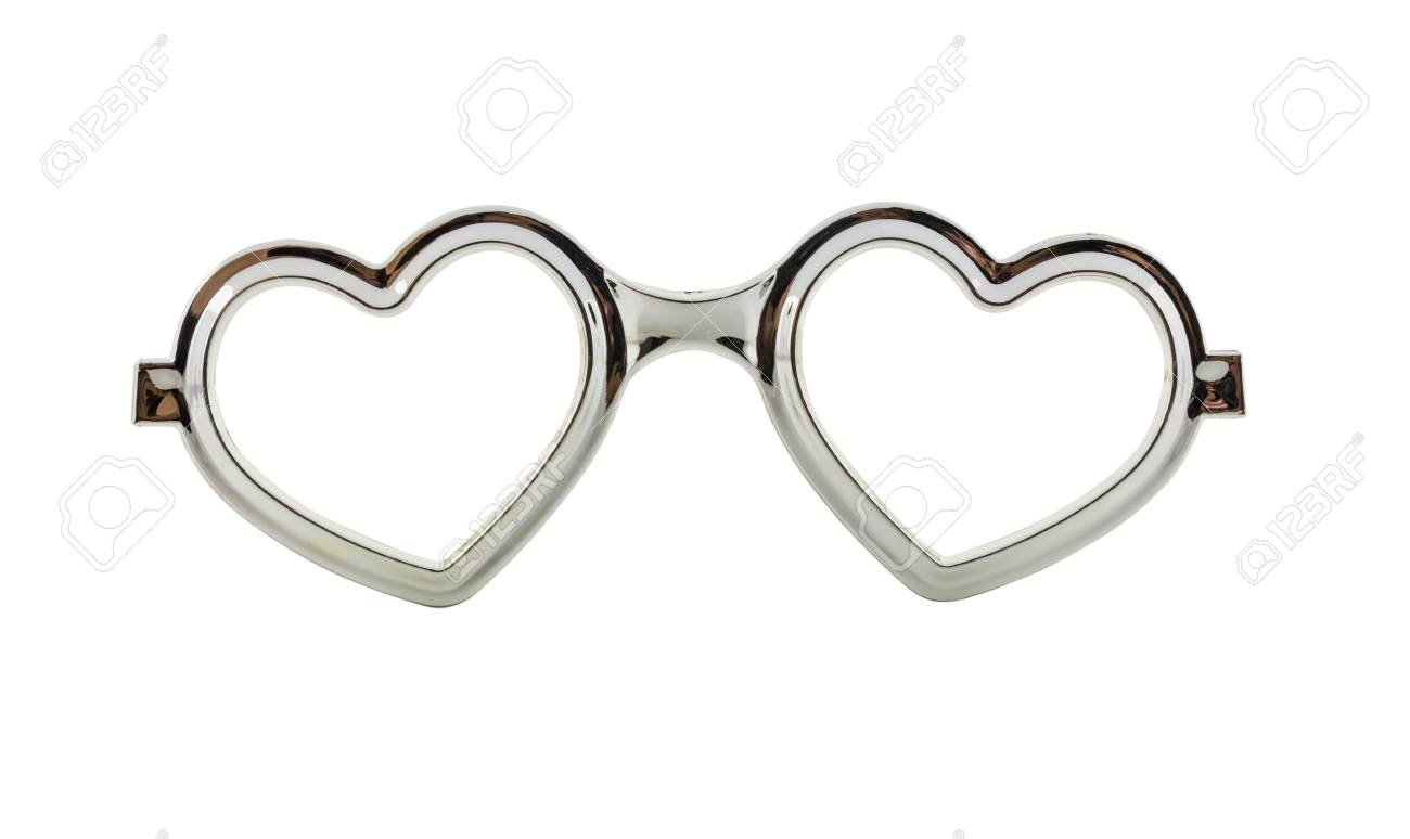 Silver Heart Frame Glasses Isolated On White Background Stock Photo ...
