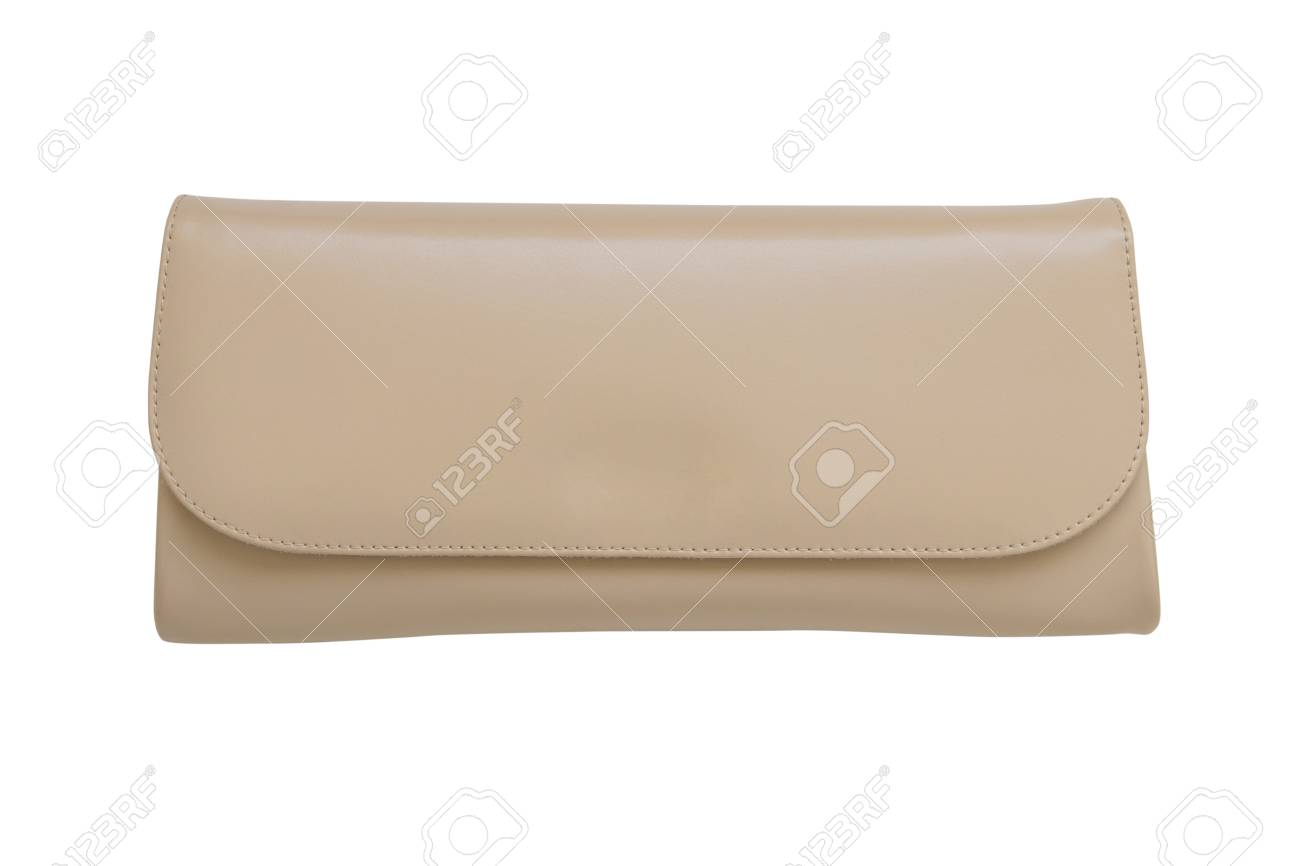 9b2c0acc beige leather women clutch handbag isolated on white background Stock Photo  - 99773817
