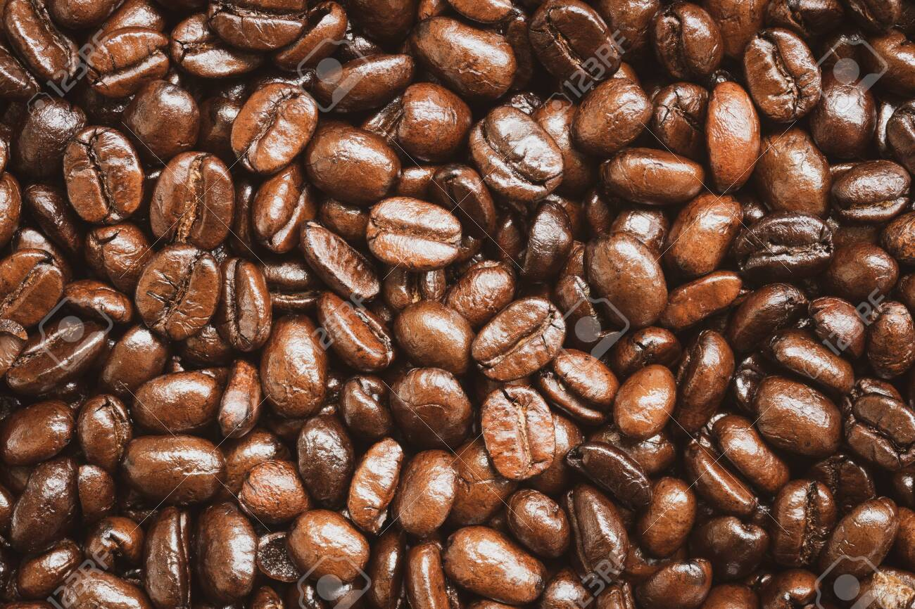 Close up of roasted coffee beans texture and background - 141346054