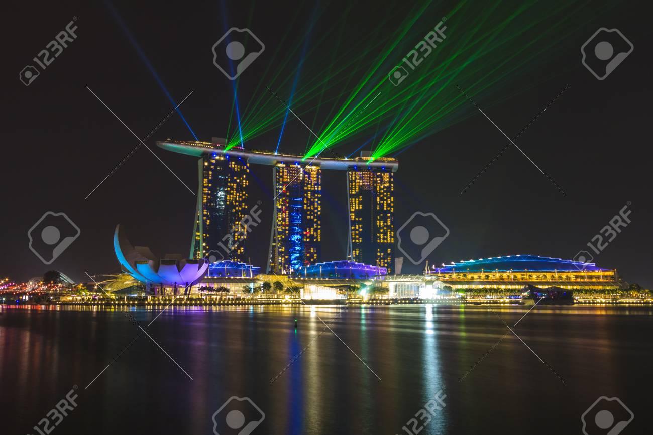 marina bay sands singapore laser and lighting show stock photo