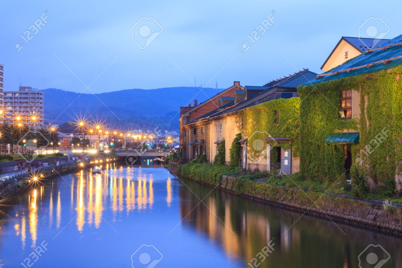 Otaru, Japan historic canal and warehouse in summer twilight