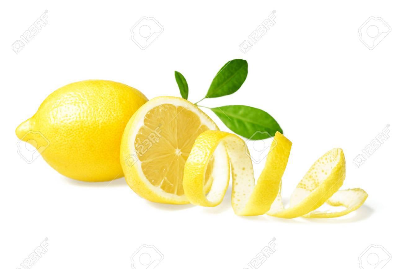 fresh lemon and lemon peel on white - 43246958