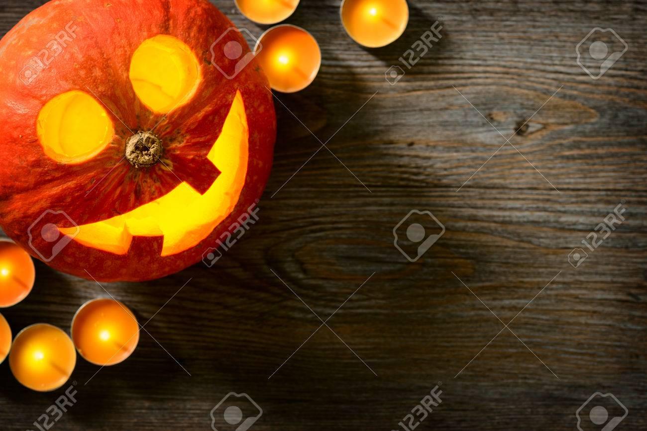 jack o lantern, pumpkin lantern on the wooden board - 46751787
