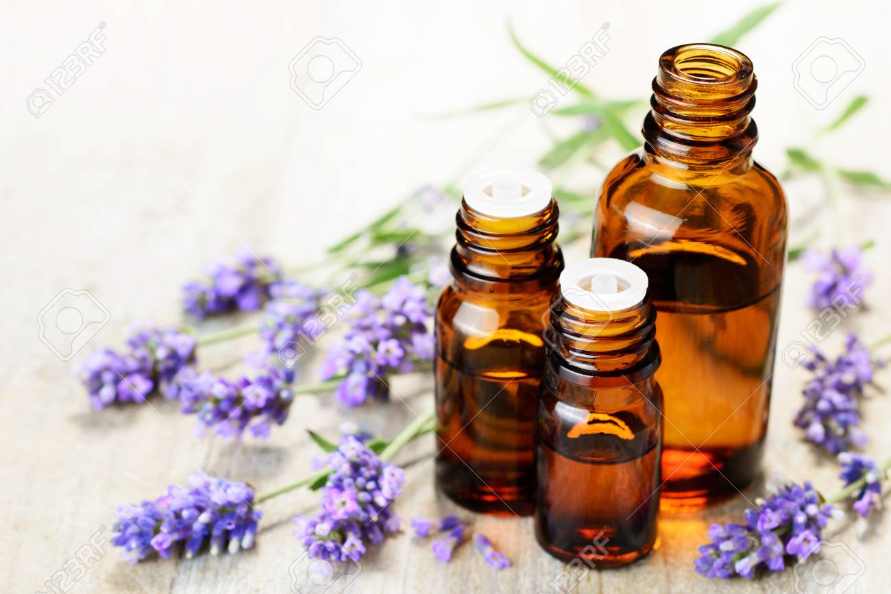 Lavender essential oil in the amber bottle, with fresh lavender flower heads. - 81303068