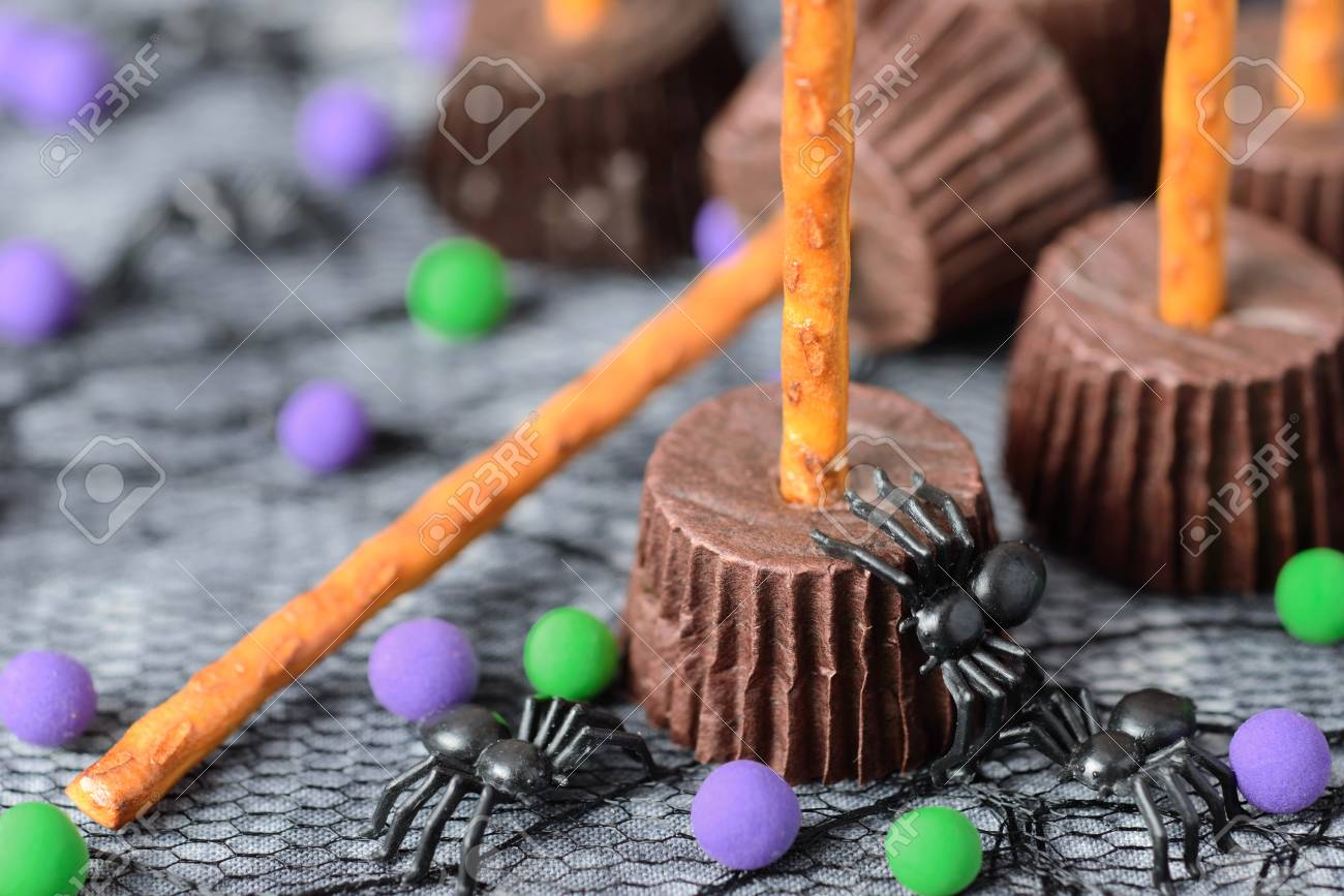 homemade halloween cookies witchs broom cup cakes stock photo 88222360