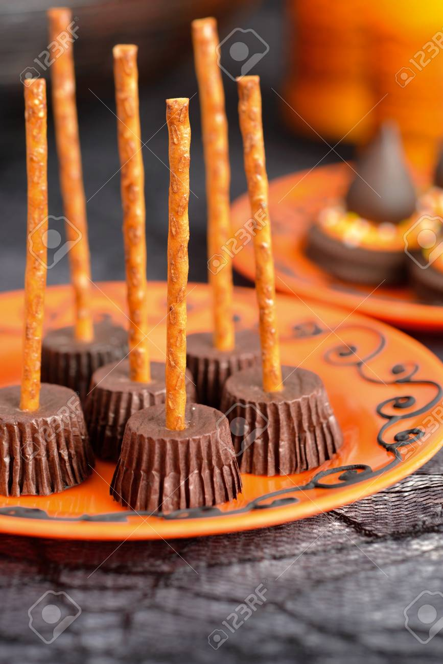 homemade halloween cookies witchs broom cup cakes stock photo 88222362