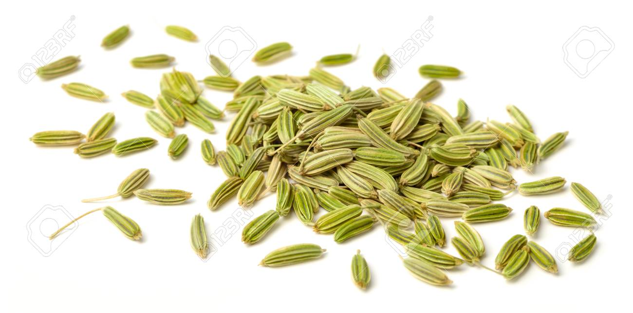 close up of dried fennel seeds isolated on white - 97687804