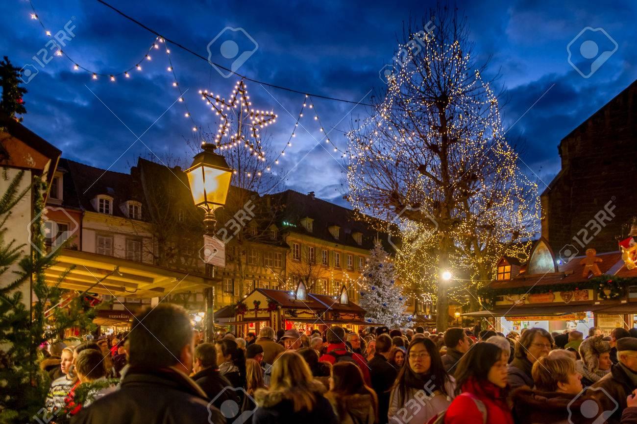 Colmar Christmas Market.Crowds At Colmar Christmas Market