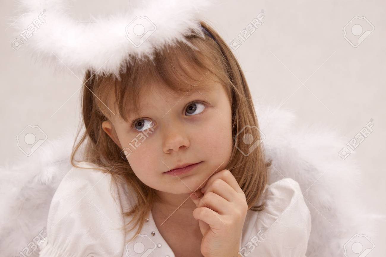 Beautiful girl as angel on a white background Stock Photo - 13562961