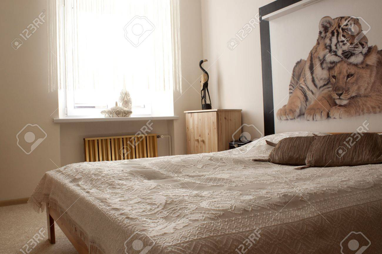 Clear pine bedroom with photo wallpaper Stock Photo - 13562960