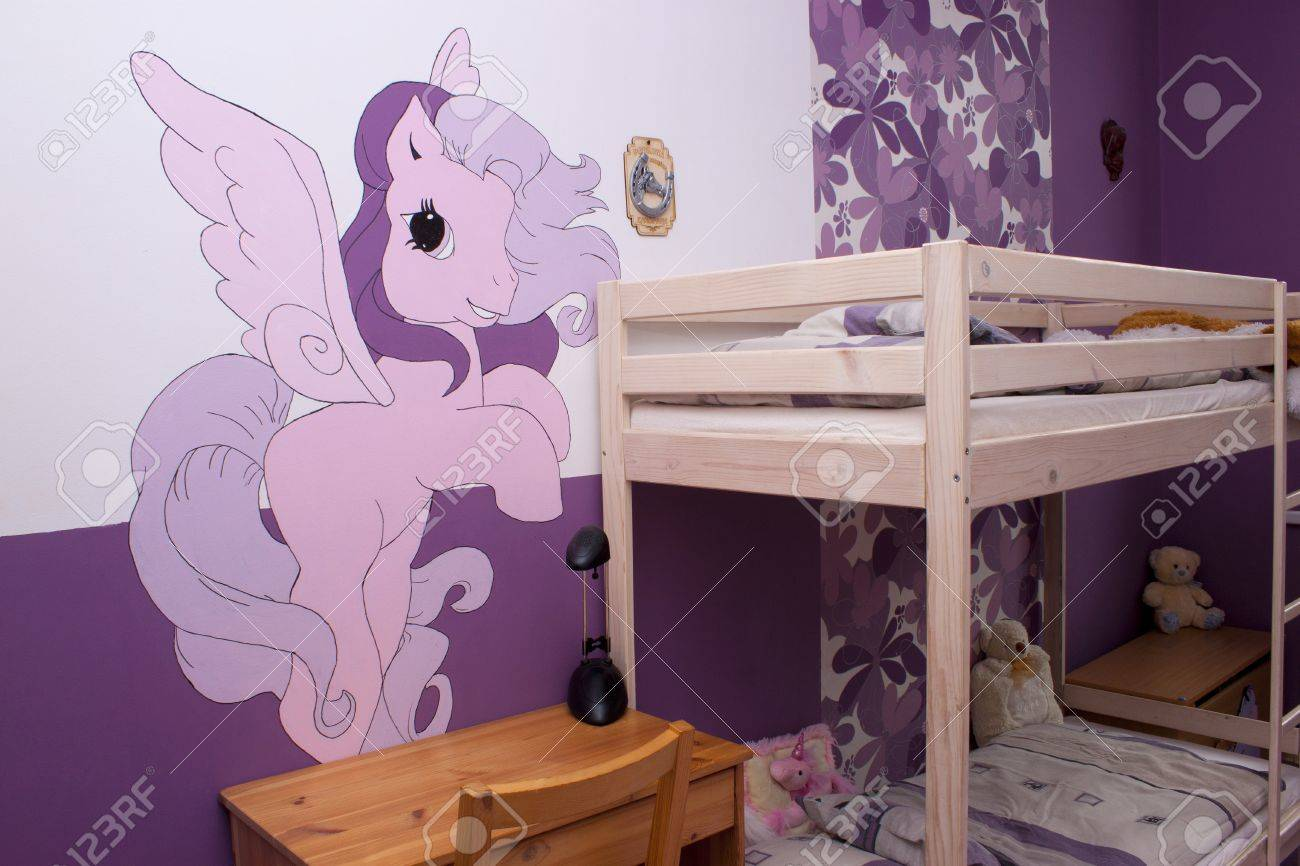 Colorful room for a girl with a painted pony Stock Photo - 15561481