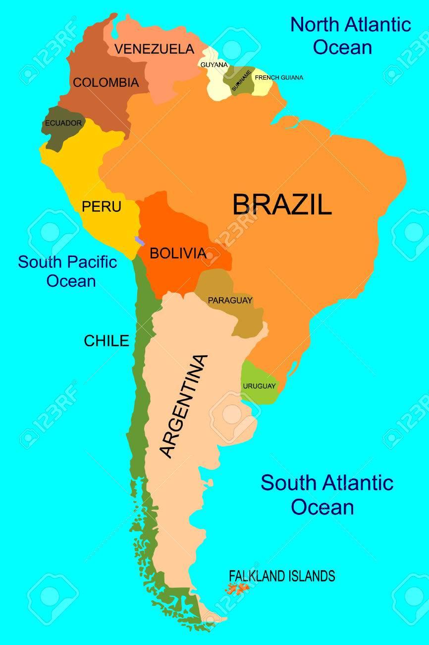 南アメリカ - 詳細地図 ロイヤリ...