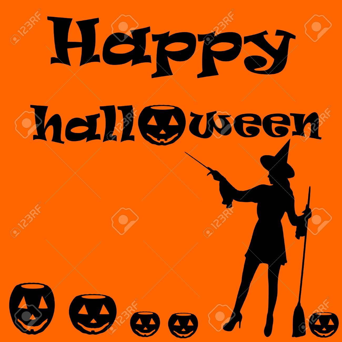 Happy Halloween Card With Pumpkin And Witches Stock Vector   62544691