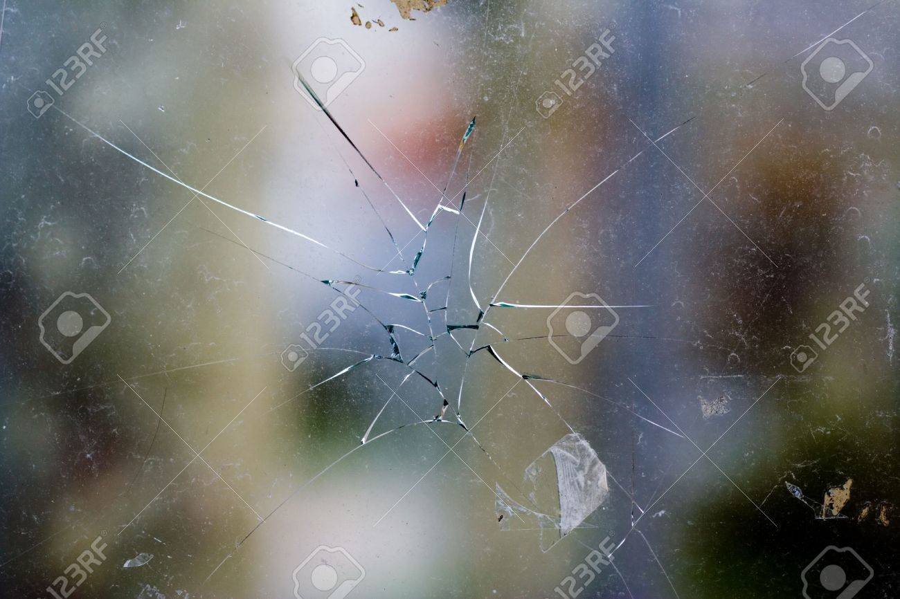broken glass - cracked with hole Stock Photo - 909802