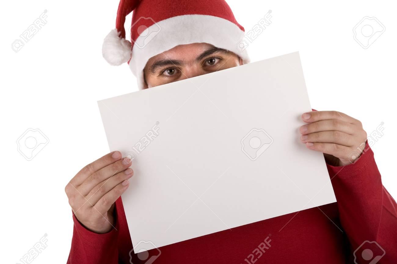 man wearing a red santa hat holding blank billboard Stock Photo - 3733611