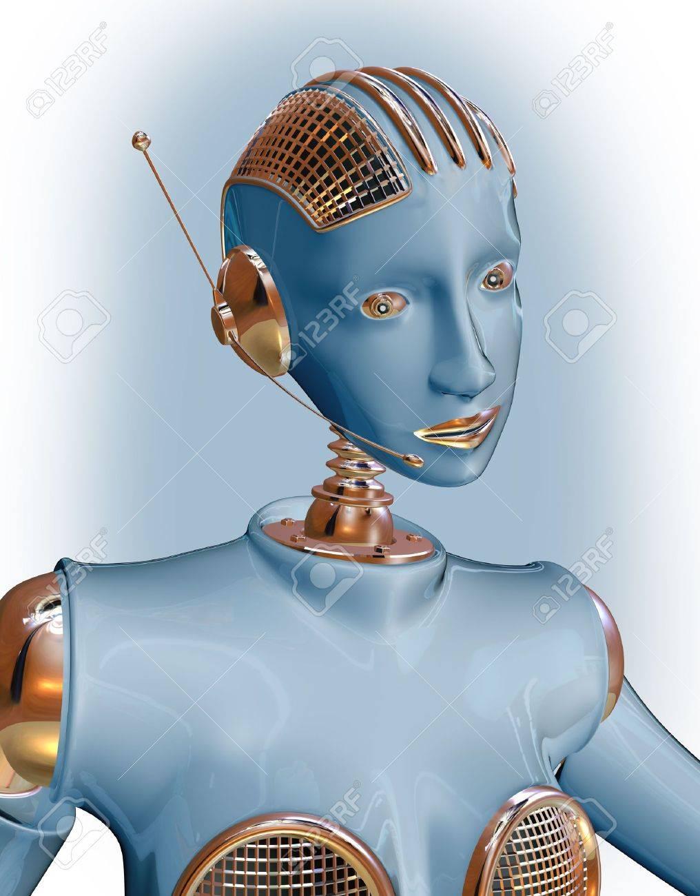 Robot  woman wearing a telesales headset Stock Photo - 8812402