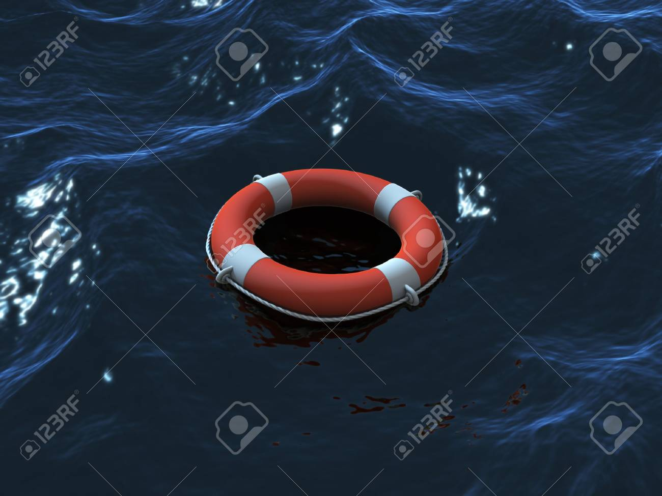 Render of lifebuoy swimming in waves Stock Photo - 9980118