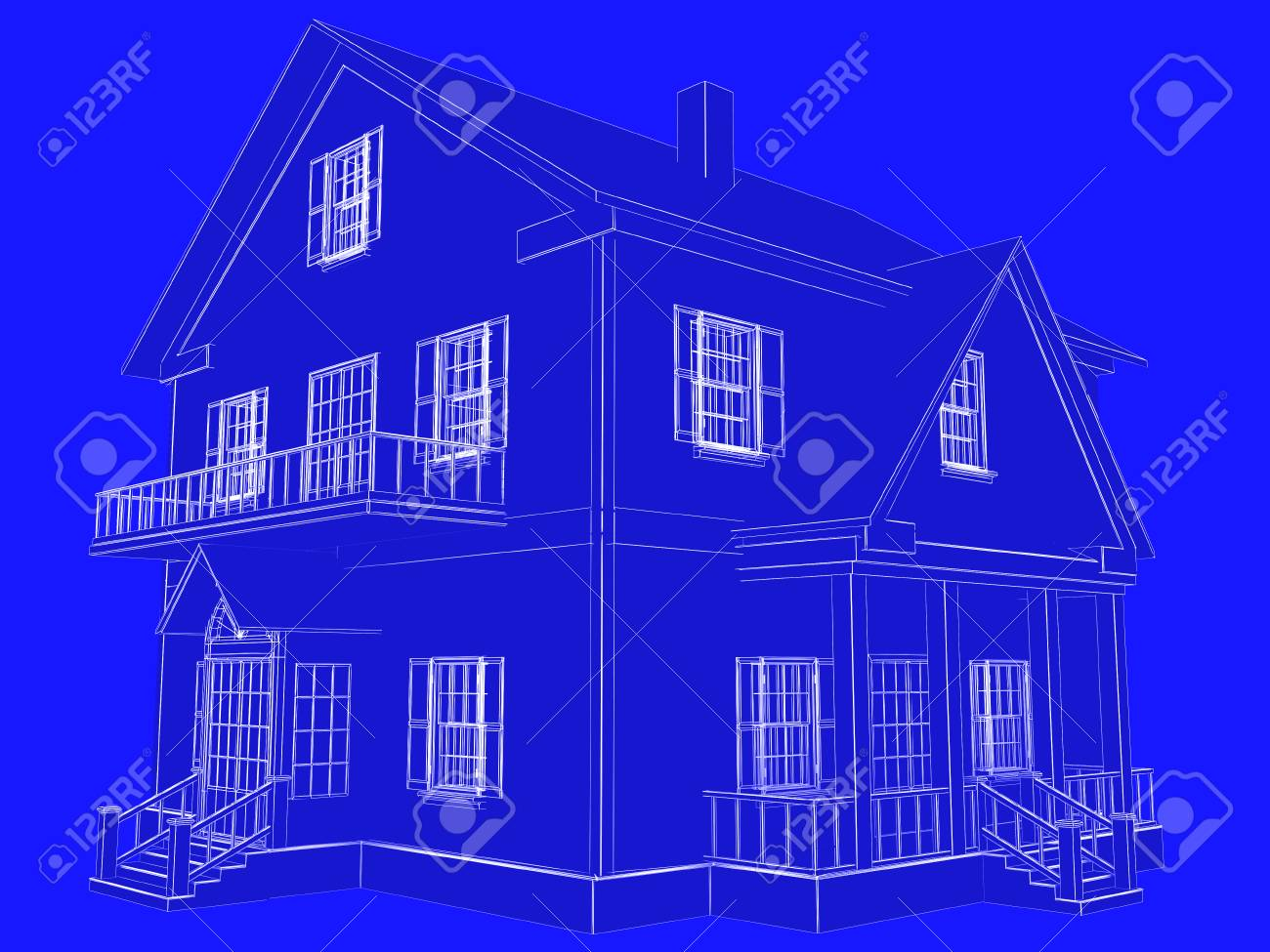 Blueprint style 3d rendered house white outlines on blue background blueprint style 3d rendered house white outlines on blue background stock photo 93819178 malvernweather Images