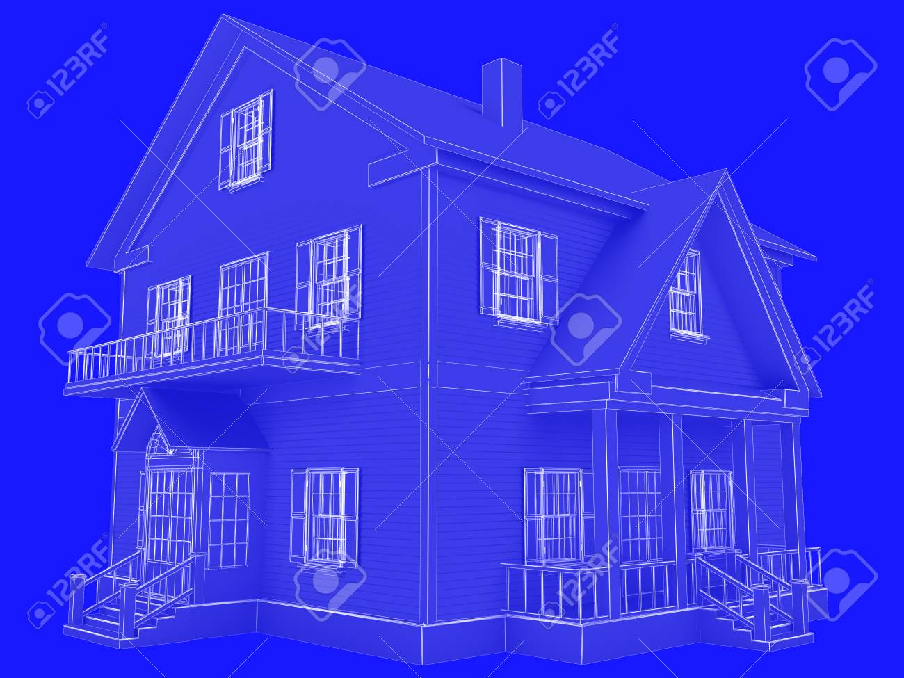 Blueprint Style 3D Rendered House. White Outlines On Blue Background. Stock  Photo   93805764