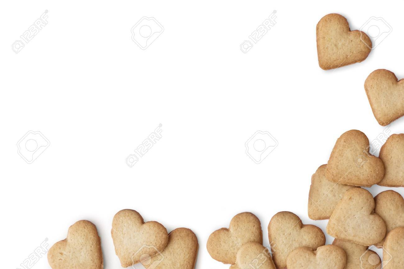 Heart-shaped cookies on white background - 10181733