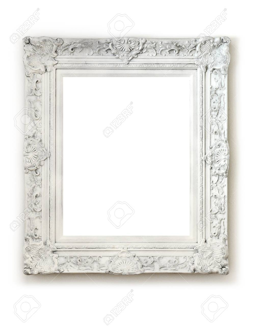 Vintage Empty Frame On White Wall Stock Photo, Picture And Royalty ...