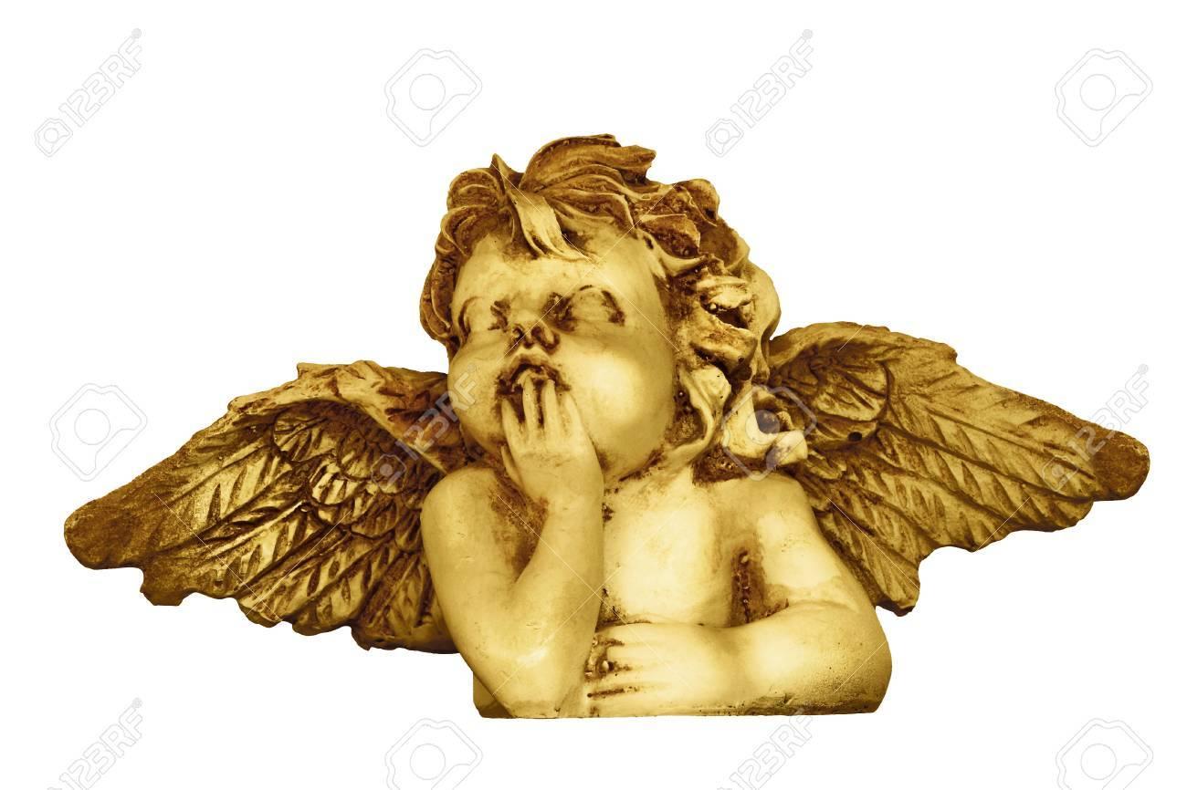 Decorative Christmas angel head figurine isolated on white background - 48244553