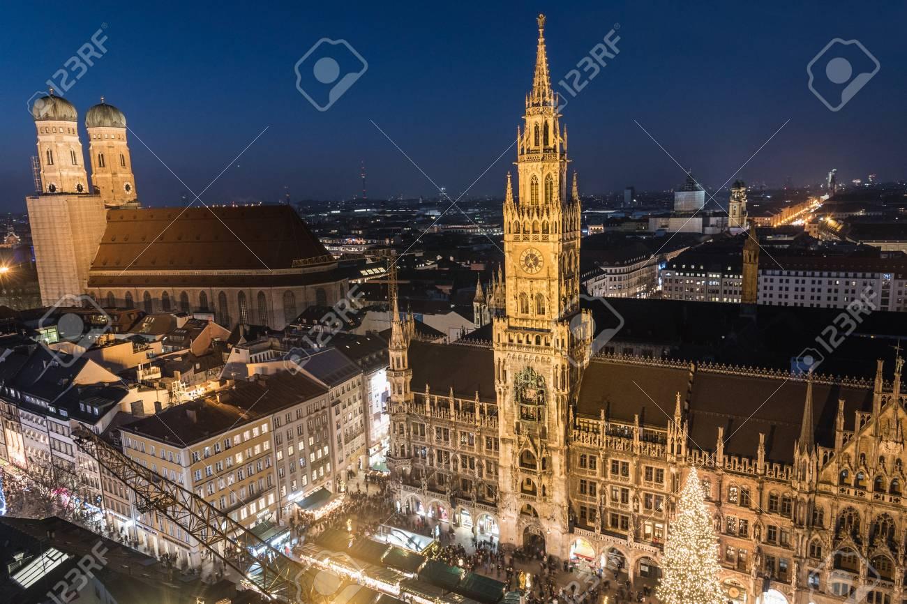 Marienplatz Weihnachtsmarkt.Aerial View Of The Christmas Market At Marienplatz Munich Germany