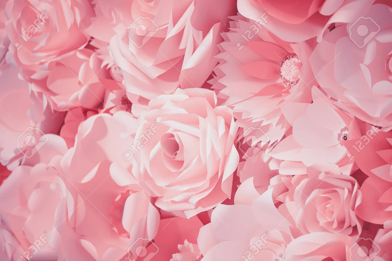 Color Filter Effect In Pink Of A 3d Paper Flower Wall Decor