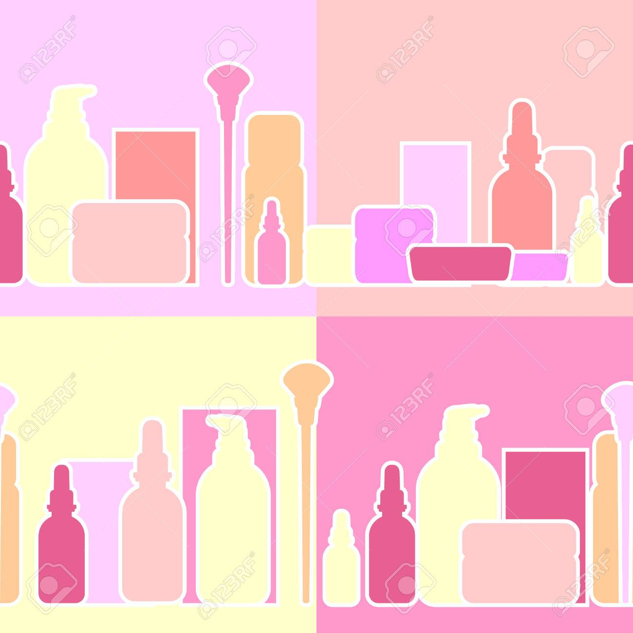 Bottles and creams for the beauty industry, vector illustration,