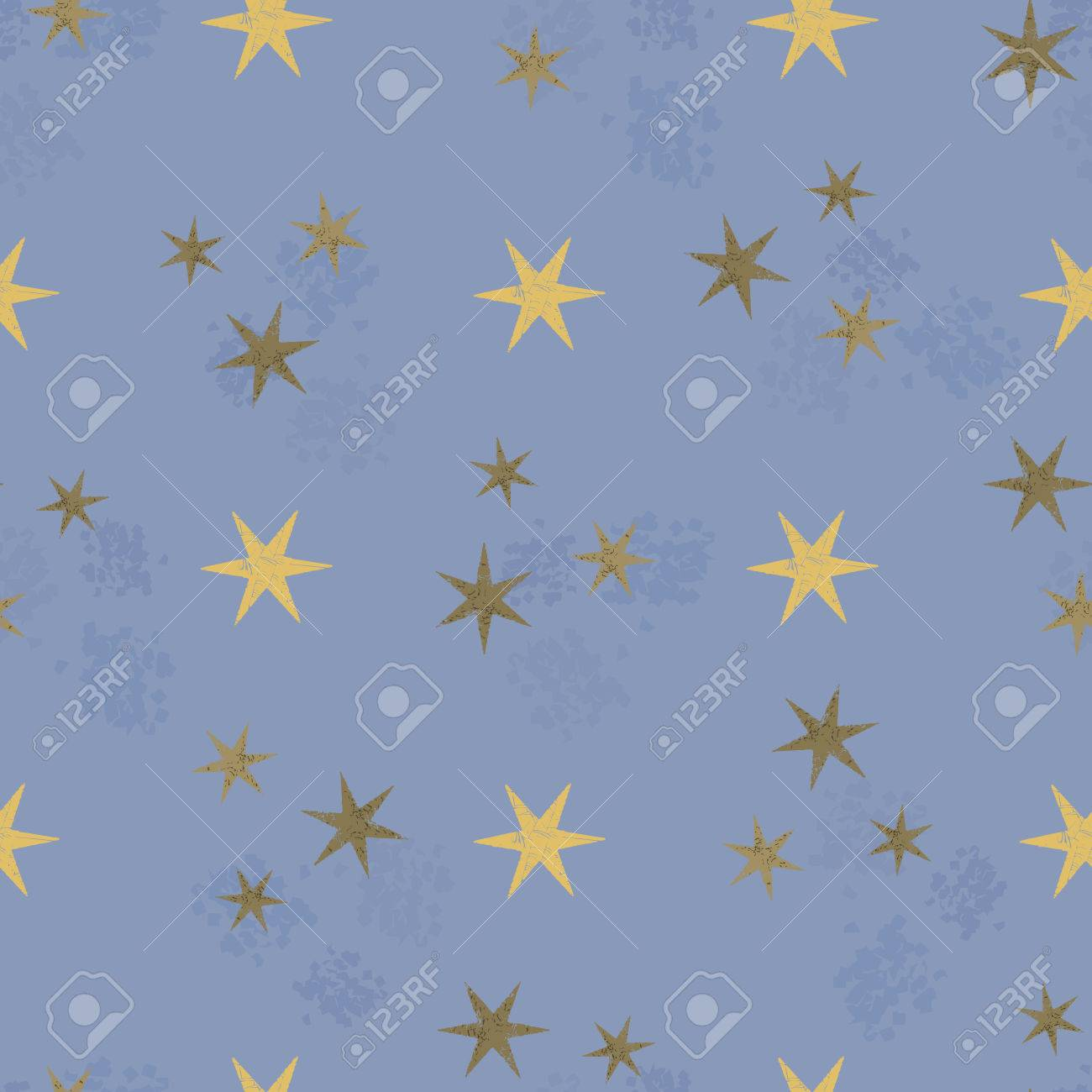 Retro Grunge Stars Seamless Pattern In Vector Fashionable Paper Design Stamping Stamp Paint Stock