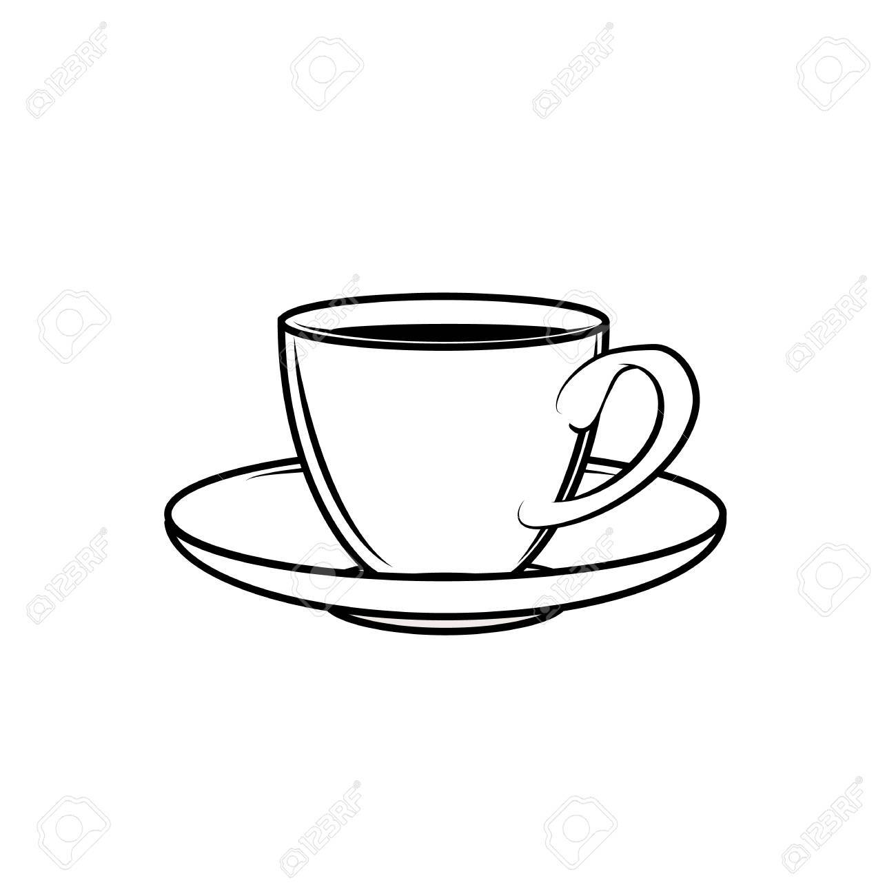 Icon For Web Line Cup Saucer Porcelain Of Tea Set Royalty Free Cliparts Vectors And Stock Illustration Image 60554432