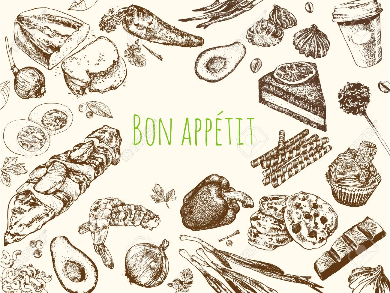 Hand Drawn Vintage Food Food Sketch And Kitchen Doodle Can Royalty Free Cliparts Vectors And Stock Illustration Image 82440246
