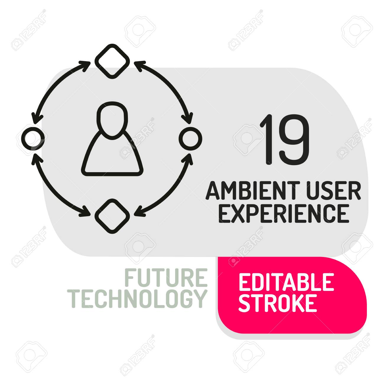 Ambient User Experience Icon Thin Line Of Future Technology Vector Illustration Stock