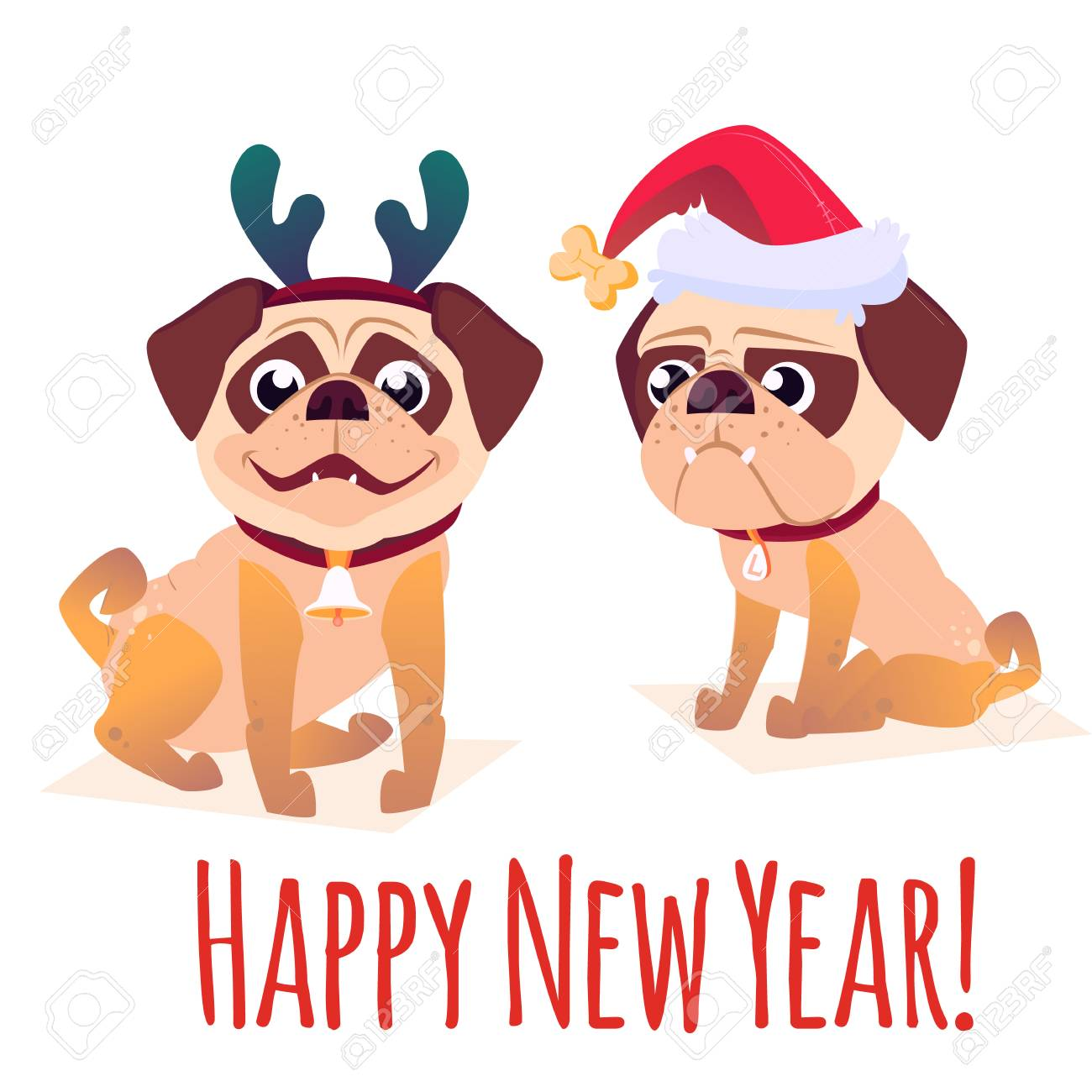 happy new year banner with dog cartoon dog with a gift