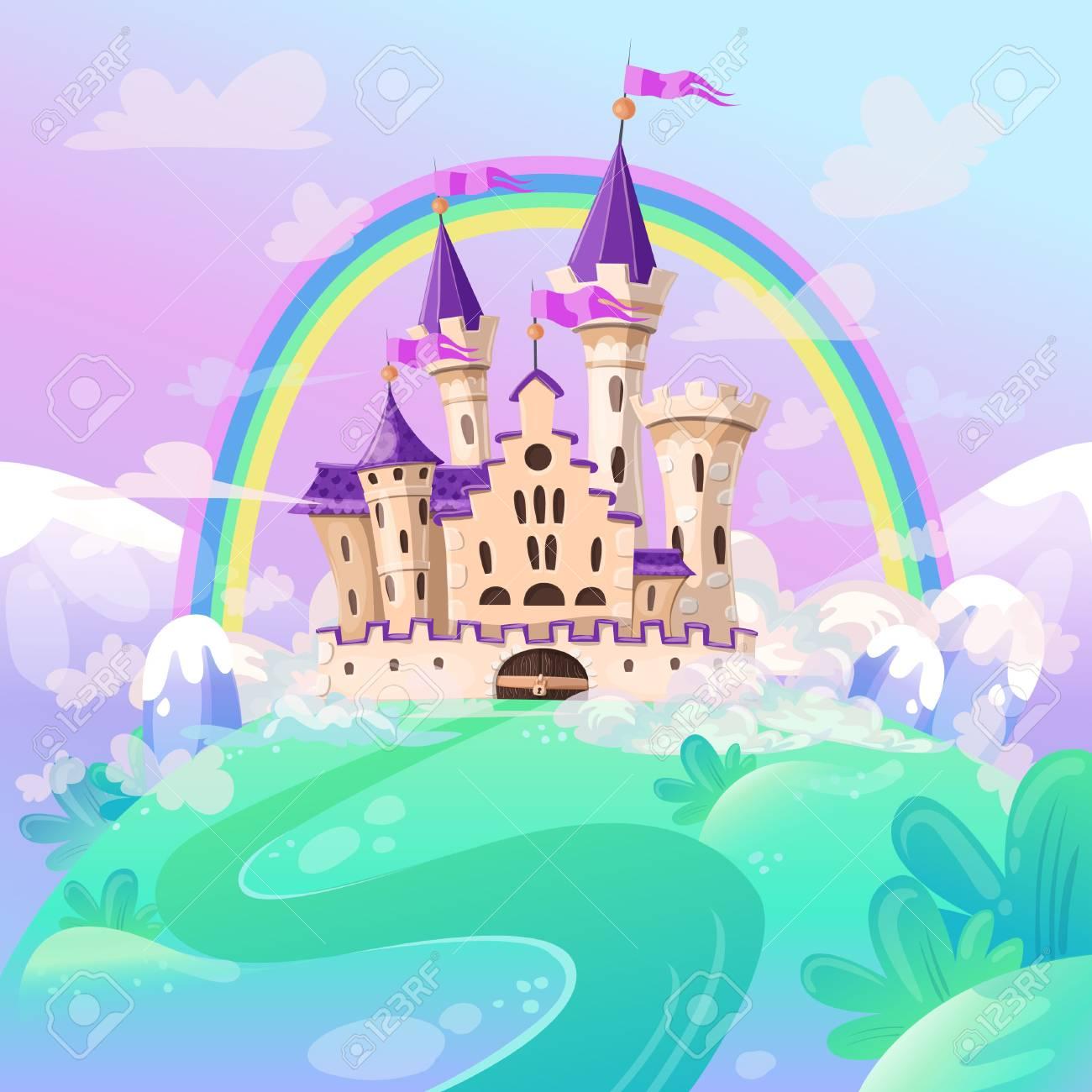 FairyTale cartoon castle. Cute cartoon castle. Fantasy fairy tale palace with rainbow. Vector illustration. - 100620162