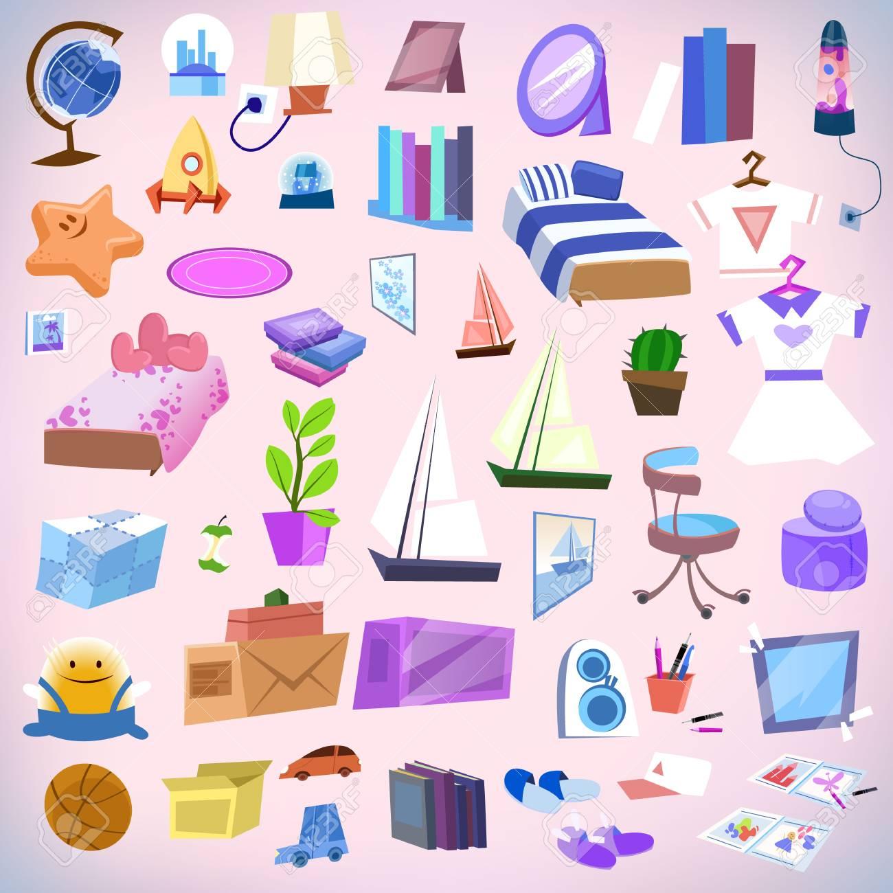 Cartoon Kid Bedroom Boy Or Girl Lifestyle Elements Set Bed Books Desk