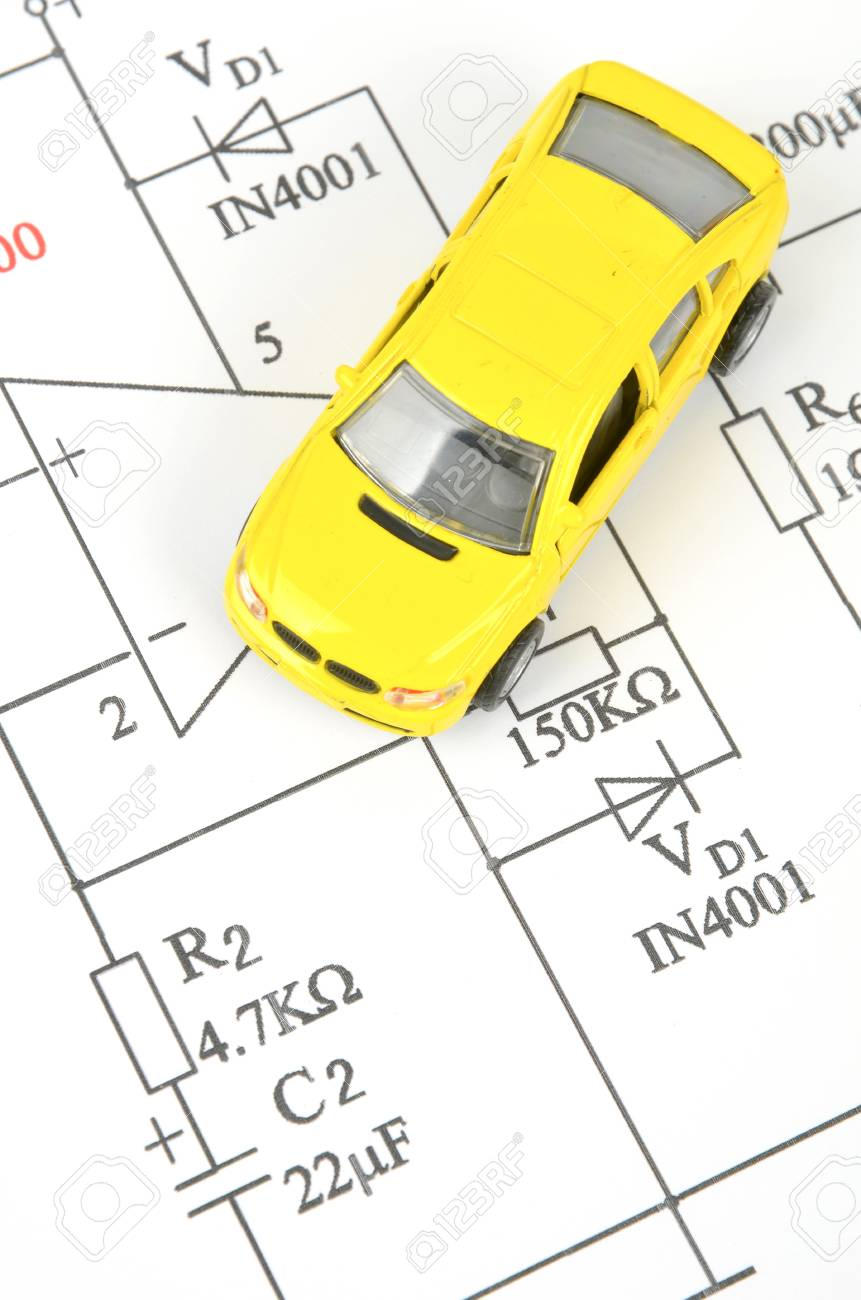 circuit diagram and toy car stock photo, picture and royalty freecircuit diagram and toy car stock photo 12164422