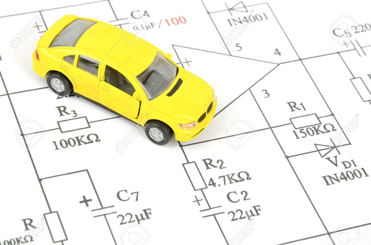 circuit diagram and toy car stock photo - 12164293