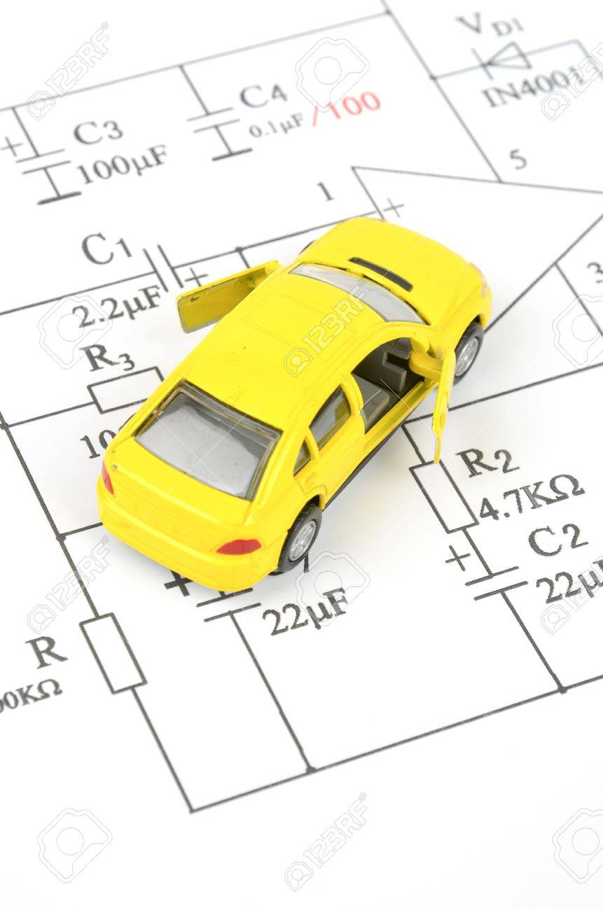 circuit diagram and toy car stock photo, picture and royalty free