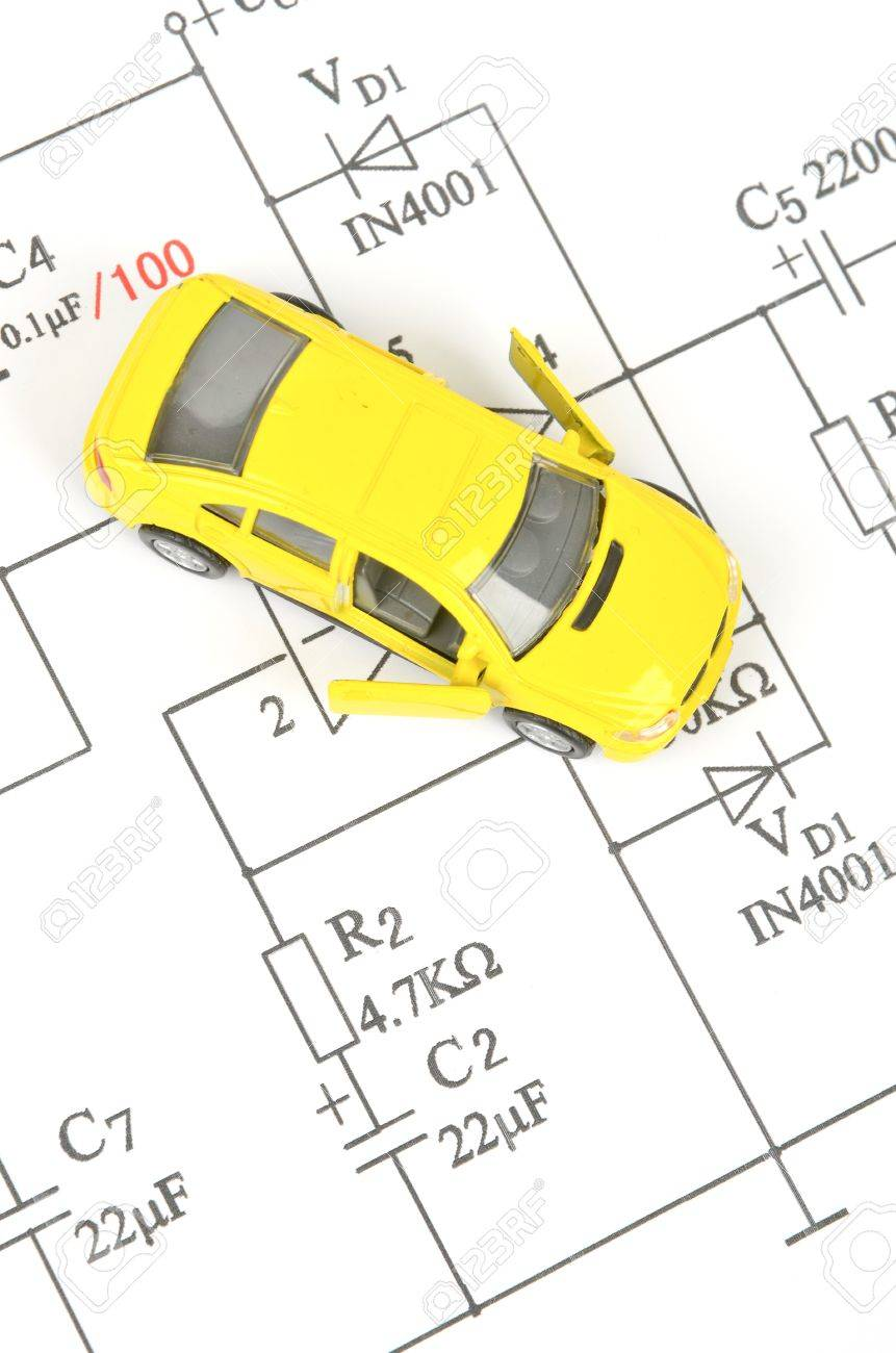 circuit diagram and toy car stock photo, picture and royalty freecircuit diagram and toy car stock photo 12164292