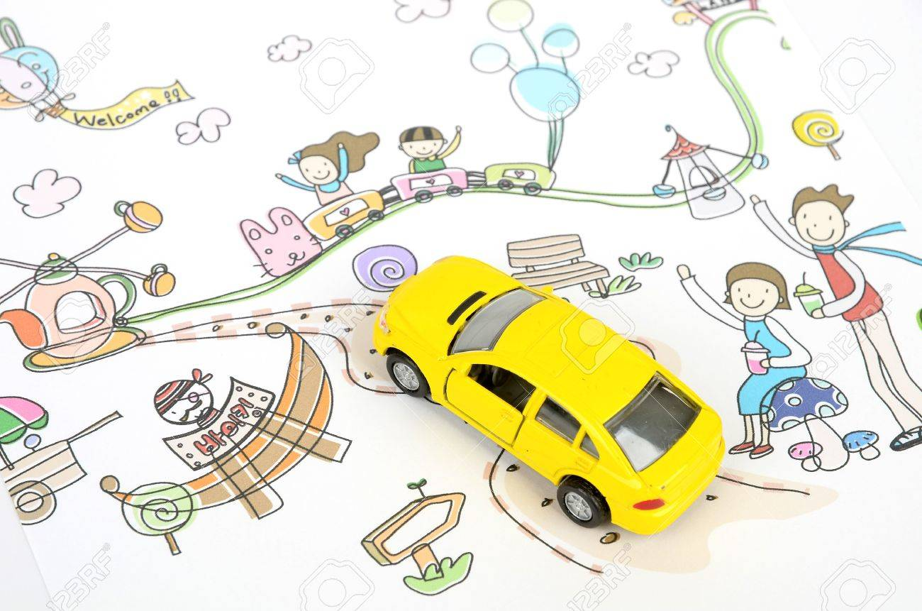 children u0027s drawing and toy car stock photo picture and royalty