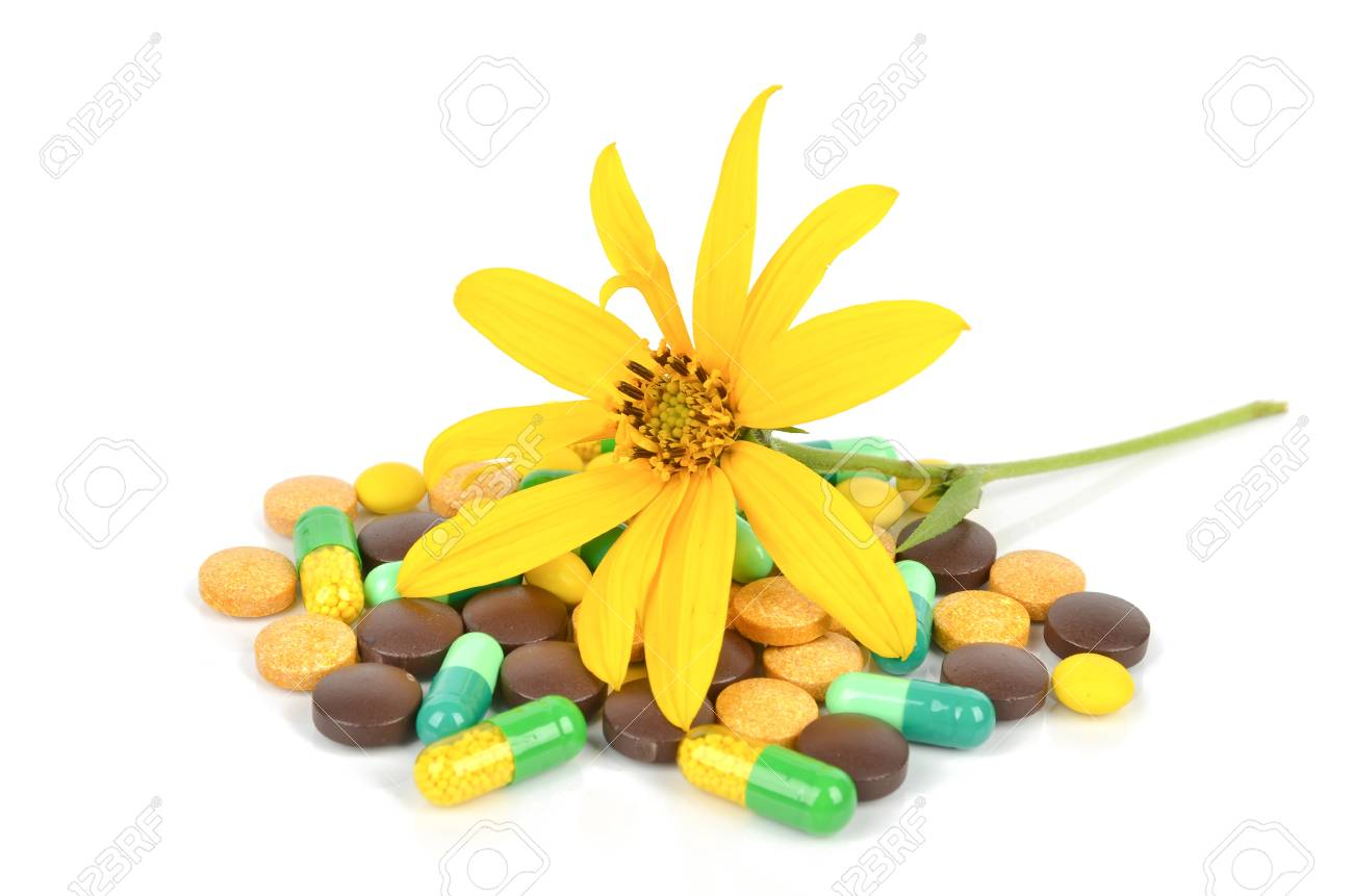 Jerusalem artichoke flower and medicine Stock Photo - 12211587