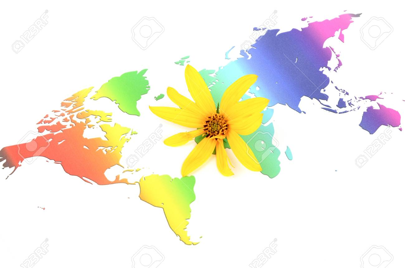 Jerusalem Artichoke Flowers And World Map Stock Photo Picture And
