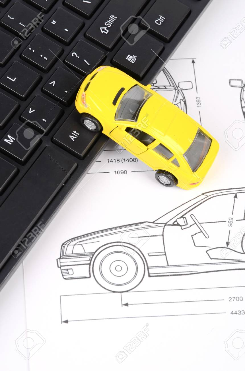 Computer Keyboard And Car Blueprint Stock Photo, Picture And Royalty ...