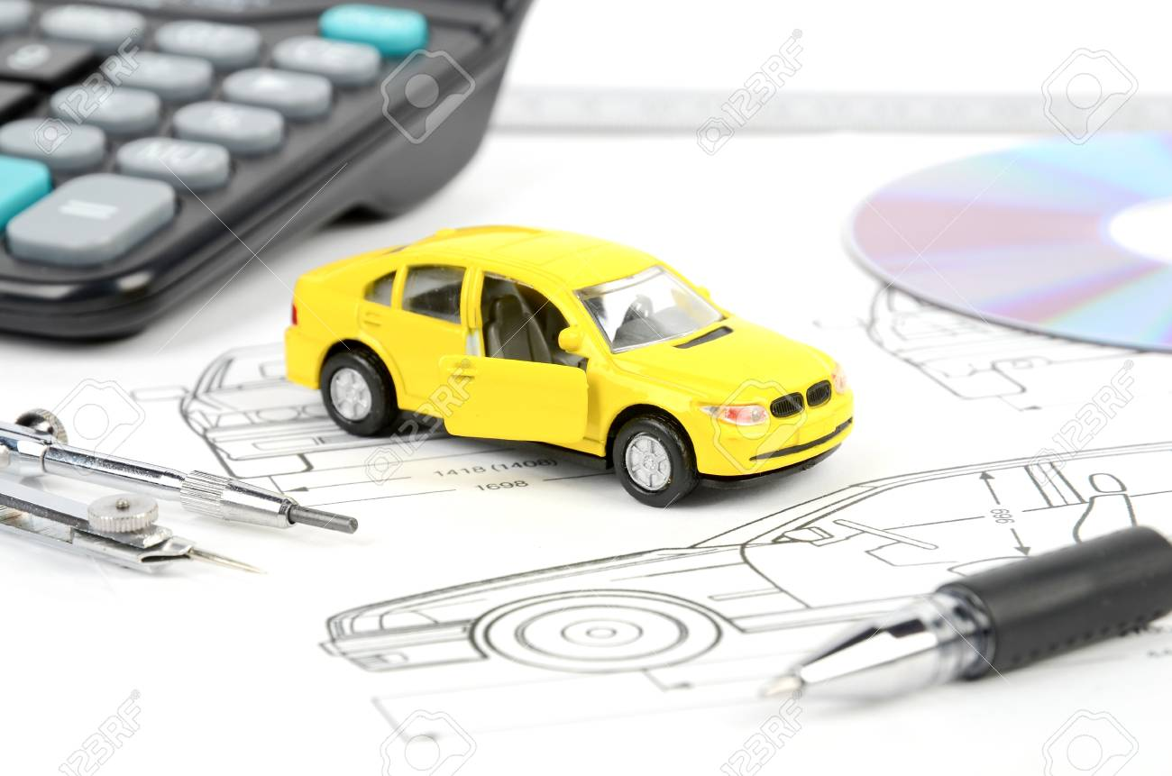 Toy car and blueprint stock photo picture and royalty free image stock photo toy car and blueprint malvernweather Images