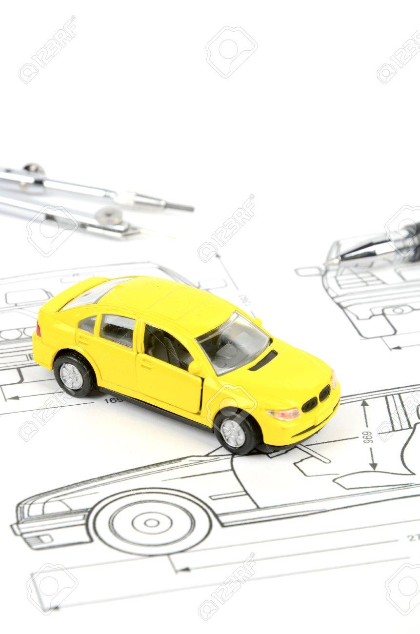Toy car on blueprint stock photo picture and royalty free image stock photo toy car on blueprint malvernweather Images