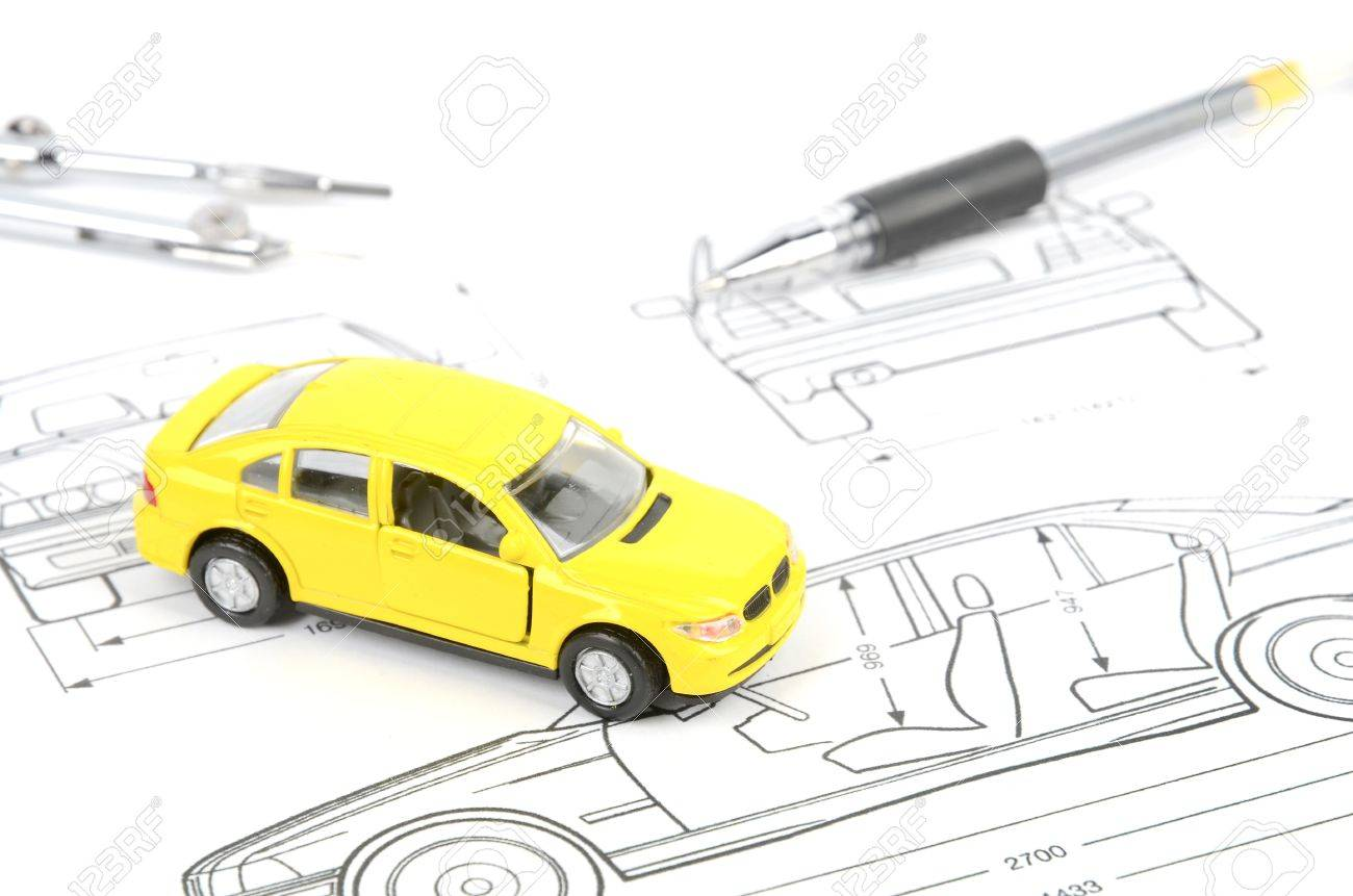 Toy Car On Blueprint Stock Photo, Picture And Royalty Free Image ...